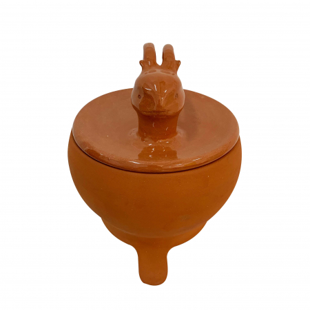Tripod din ceramica de Arges realizat manual, Argcoms, Tip ceaun, Cap de cerb, Cu capac, Format traditional2