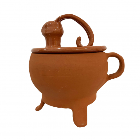 Tripod din ceramica de Arges realizat manual, Argcoms, Tip ceaun, Cap de cerb, Cu capac, Format traditional0