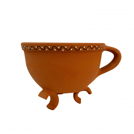 Tripod din ceramica de Arges realizat manual, Argcoms, Tip ceaun, Pictura traditionala0