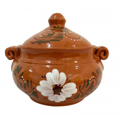 Vas din ceramica de Arges realizat manual, Argcoms, Produse la grătar, Cu capac, Pictura florala, Mare0