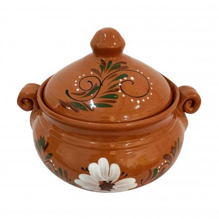 Vas din ceramica de Arges realizat manual, Argcoms, Produse la grătar, Cu capac, Pictura florala, Mare1