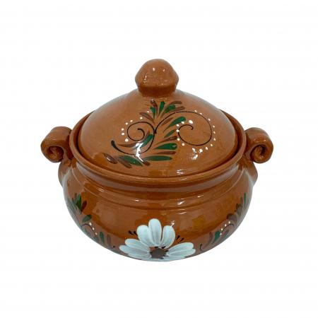Vas din ceramica de Arges realizat manual, Argcoms, Produse la grătar, Cu capac, Pictura florala, Mediu1