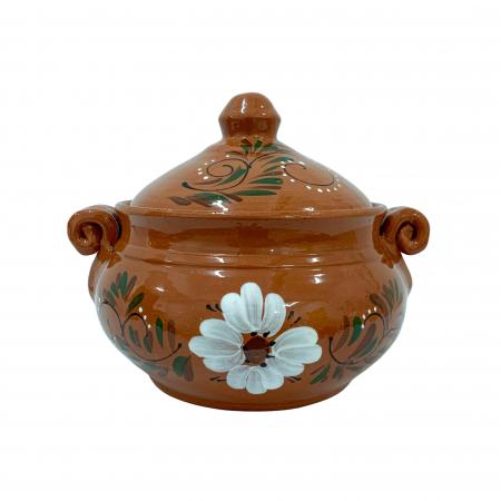 Vas din ceramica de Arges realizat manual, Argcoms, Produse la grătar, Cu capac, Pictura florala, Mediu0