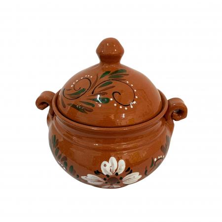 Vas din ceramica de Arges realizat manual, Argcoms, Produse la grătar, Cu capac, Pictura florala, Mic1