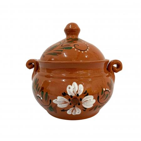 Vas din ceramica de Arges realizat manual, Argcoms, Produse la grătar, Cu capac, Pictura florala, Mic0