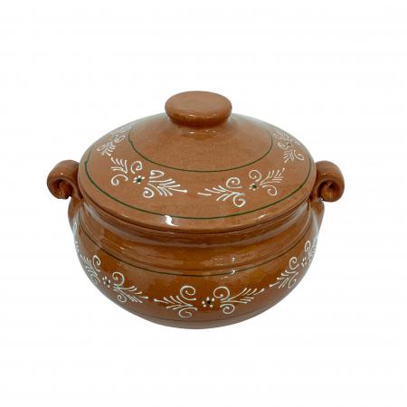 Vas din ceramica de Arges realizat manual, Argcoms, Produse la grătar, Cu capac, Pictura traditionala, Mediu1