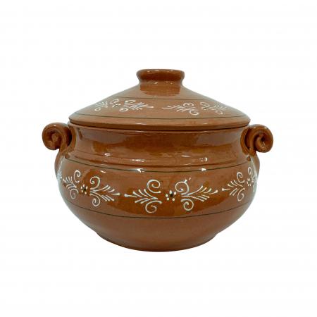 Vas din ceramica de Arges realizat manual, Argcoms, Produse la grătar, Cu capac, Pictura traditionala, Mediu0