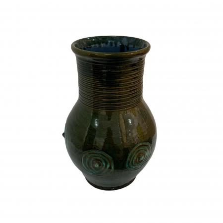 Vas ornamental din ceramica de Arges realizat manual, Argcoms, Glazurat, Decor motiv cosmic1