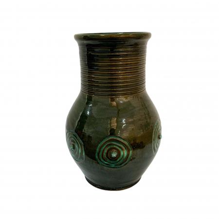 Vas ornamental din ceramica de Arges realizat manual, Argcoms, Glazurat, Decor motiv cosmic0