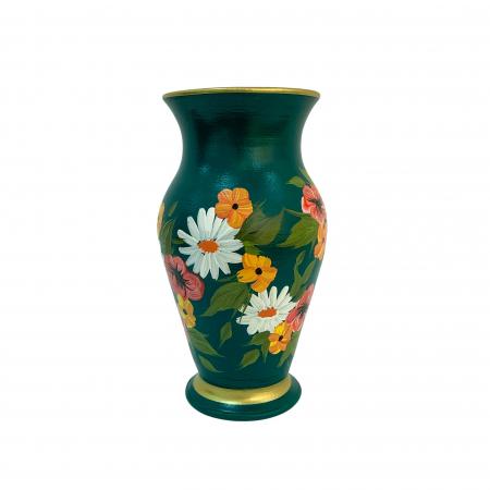 Vaza din ceramica de Arges realizata manual, Argcoms, H25, Silueta clasica (2), 1 inel, Pictura florala1
