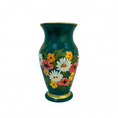 Vaza din ceramica de Arges realizata manual, Argcoms, H25, Silueta clasica (2), 1 inel, Pictura florala0