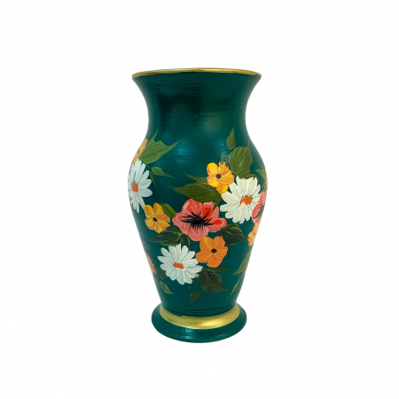 Vaza din ceramica de Arges realizata manual, Argcoms, H25, Silueta clasica (2), 1 inel, Pictura florala3