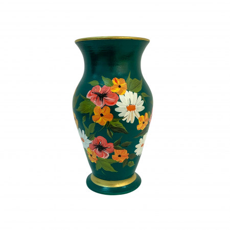 Vaza din ceramica de Arges realizata manual, Argcoms, H25, Silueta clasica (2), 1 inel, Pictura florala2