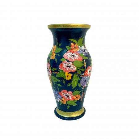 Vaza din ceramica de Arges realizata manual, Argcoms, H30, Silueta clasica (1), 2 inele, Pictura florala2