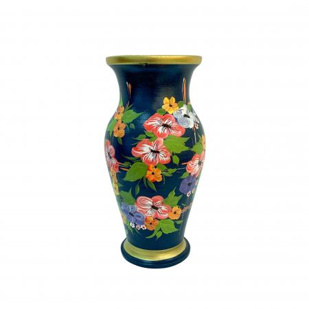Vaza din ceramica de Arges realizata manual, Argcoms, H30, Silueta clasica (1), 2 inele, Pictura florala0