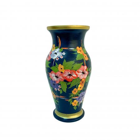 Vaza din ceramica de Arges realizata manual, Argcoms, H30, Silueta clasica (1), 2 inele, Pictura florala1