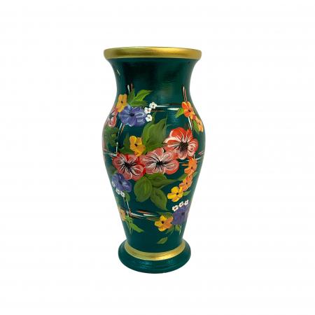 Vaza din ceramica de Arges realizata manual, Argcoms, H30, Silueta clasica (1), 2 inele, Pictura florala3