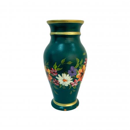 Vaza din ceramica de Arges realizata manual, Argcoms, H30, Silueta clasica (2), 3 inele, Pictura florala1