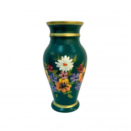Vaza din ceramica de Arges realizata manual, Argcoms, H30, Silueta clasica (2), 3 inele, Pictura florala0
