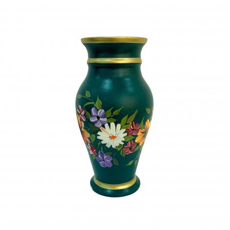Vaza din ceramica de Arges realizata manual, Argcoms, H30, Silueta clasica (2), 3 inele, Pictura florala2