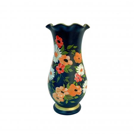 Vaza din ceramica de Arges realizata manual, Argcoms, H30, Silueta cu onduleuri (2), 1 inel, Pictura florala3