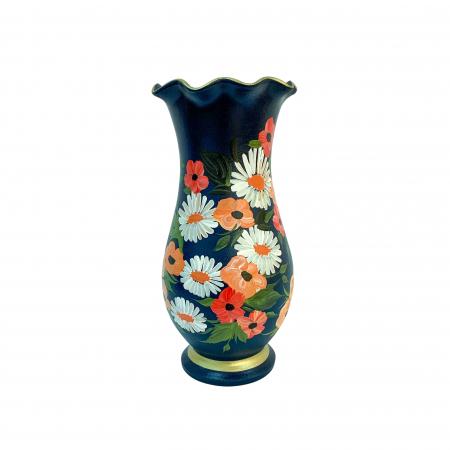 Vaza din ceramica de Arges realizata manual, Argcoms, H30, Silueta cu onduleuri (2), 1 inel, Pictura florala2