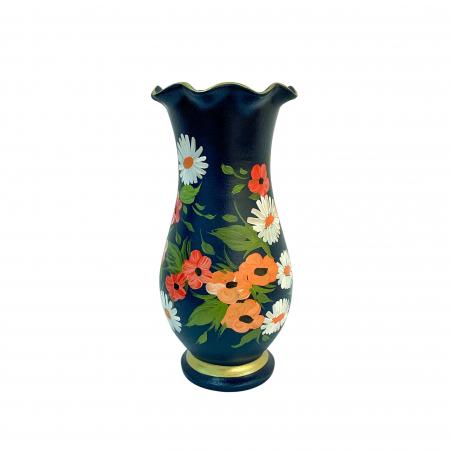 Vaza din ceramica de Arges realizata manual, Argcoms, H30, Silueta cu onduleuri (2), 1 inel, Pictura florala1
