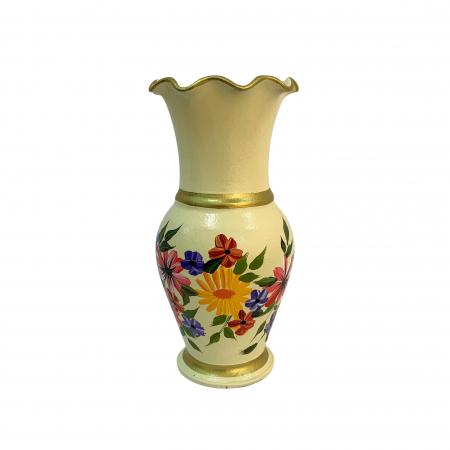 Vaza din ceramica de Arges realizata manual, Argcoms, H30, Silueta cu onduleuri (3), 2 inele, Pictura florala2