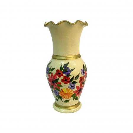 Vaza din ceramica de Arges realizata manual, Argcoms, H30, Silueta cu onduleuri (3), 2 inele, Pictura florala1