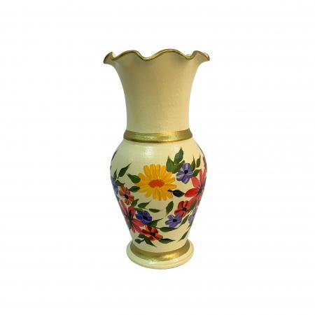 Vaza din ceramica de Arges realizata manual, Argcoms, H30, Silueta cu onduleuri (3), 2 inele, Pictura florala0
