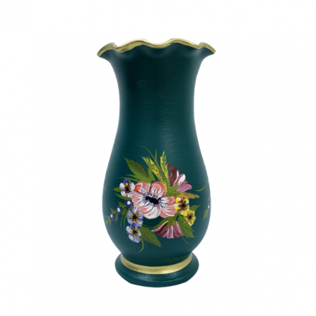 Vaza din ceramica de Arges realizata manual, Argcoms, H30, Silueta cu onduleuri (1), 1 inel, Pictura florala2