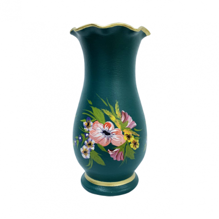 Vaza din ceramica de Arges realizata manual, Argcoms, H30, Silueta cu onduleuri (1), 1 inel, Pictura florala1