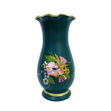 Vaza din ceramica de Arges realizata manual, Argcoms, H30, Silueta cu onduleuri (1), 1 inel, Pictura florala0
