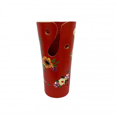 Vaza din ceramica de Arges realizata manual, Argcoms, H30, Traforat, Pictura florala1