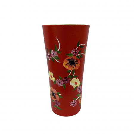 Vaza din ceramica de Arges realizata manual, Argcoms, H30, Traforat, Pictura florala0