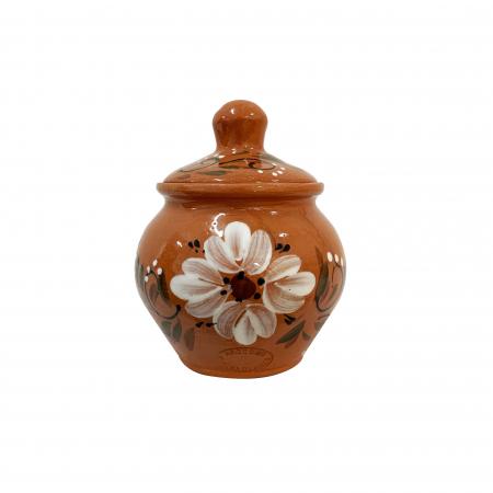 Zaharnita din ceramica de Arges realizata manual, Argcoms, Cu capac, Pictura florala