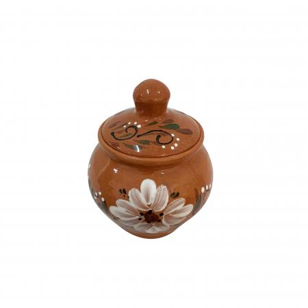 Zaharnita din ceramica de Arges realizata manual, Argcoms, Cu capac, Pictura florala1