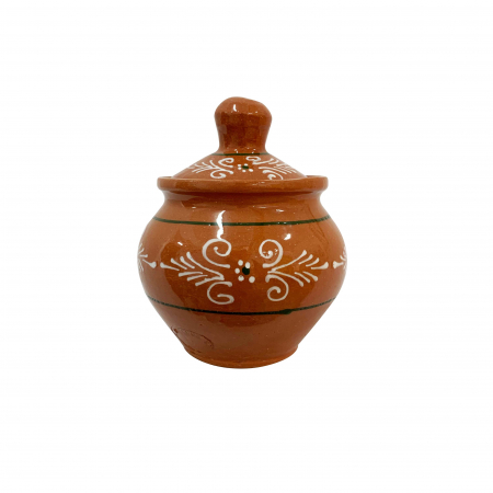 Zaharnita din ceramica de Arges realizata manual, Argcoms, Cu capac, Pictura traditionala