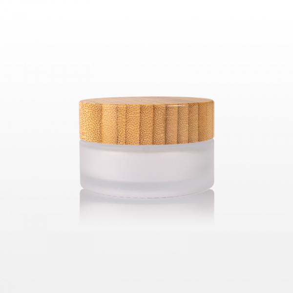 Borcan sticla mat cu capac bambus - 30g 1