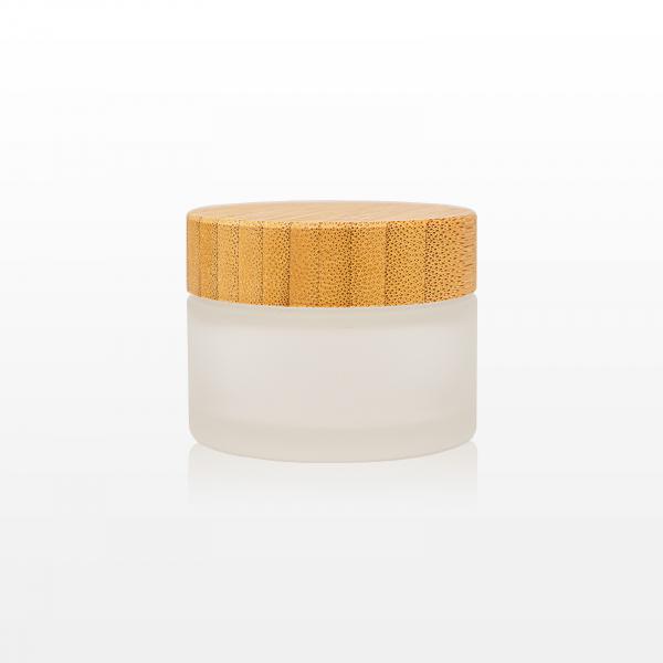 Borcan sticla mat cu capac bambus - 50g 1