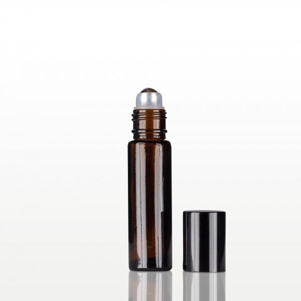 Roll-on sticla ambra cu capac negru - 10 ml 1