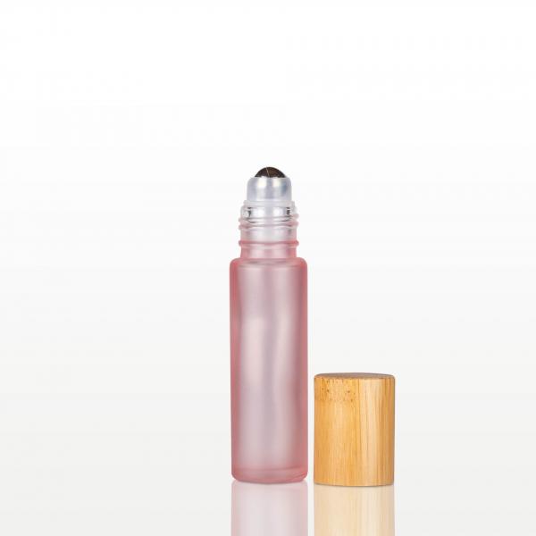 Roll-on sticla roz cu capac bambus - 10 ml 1