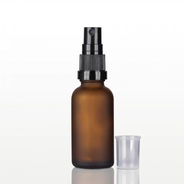 Spray flacon sticla ambra mat, capac negru - 30 ml 1