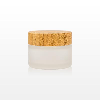 Borcan sticla mat cu capac bambus - 50g1