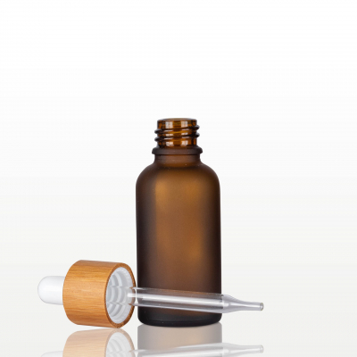 Flacon sticla ambra mat cu pipeta bambus - 30ml1