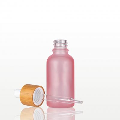 Flacon sticla roz mat cu pipeta bambus - 30 ml1