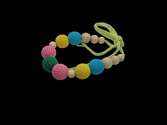 Colier de dentitie 7 bile crosetate, multicolor 1