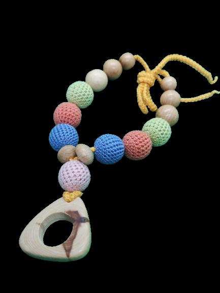 Colier de dentitie ienupar, 7 bile crosetate, multicolor 2