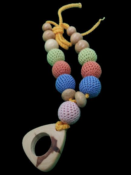 Colier de dentitie ienupar, 7 bile crosetate, multicolor 1