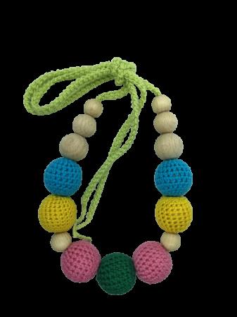 Colier de dentitie 7 bile crosetate, multicolor3